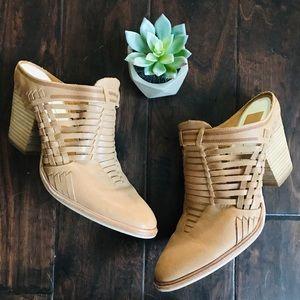 Dolce Vita Tan Weaved Leather Block Heel Mules